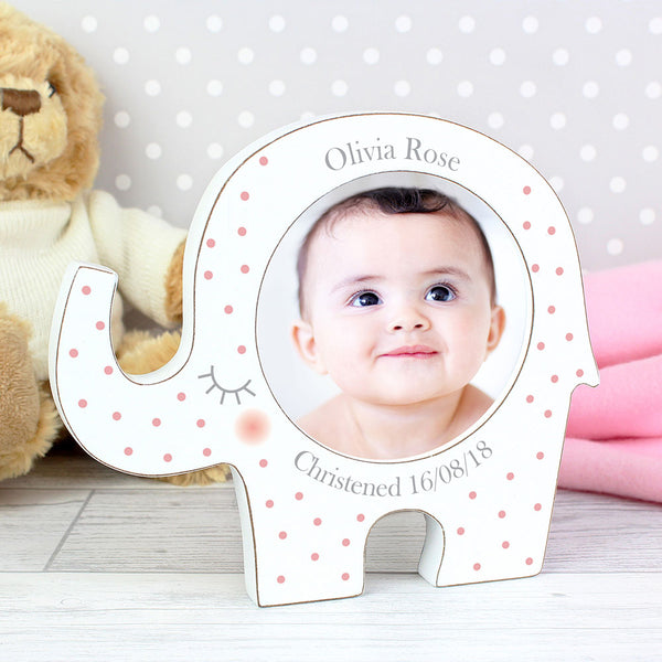 personalised photo frame pink spotty elephant design