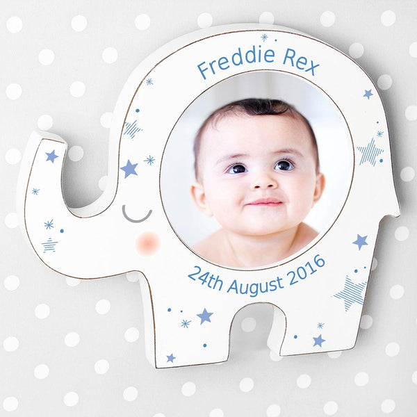 personalised photoframe blue star elephant design 2