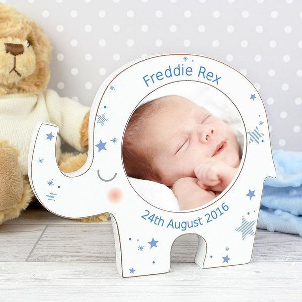 personalised photoframe blue star elephant design 3