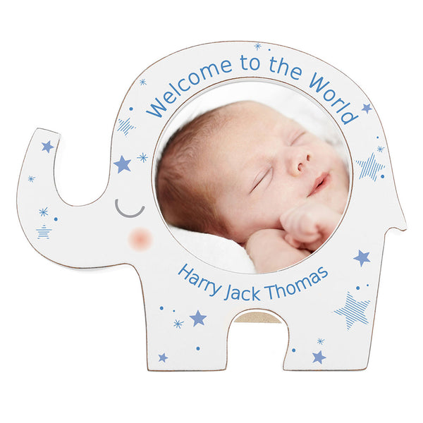 Personalised Photo Frame - Blue Star Elephant Design