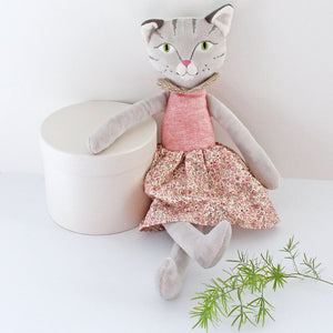 Personalised Cat rag doll in pink floral dress