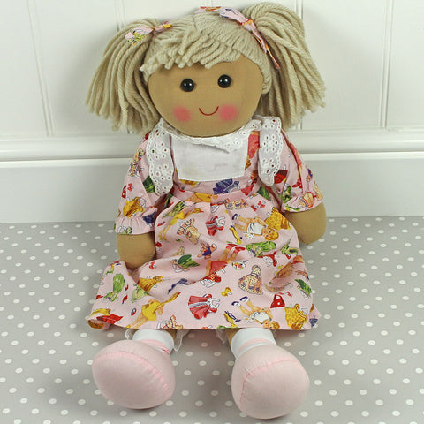 Personalised Large Rag Doll, Pink Dress