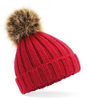 red beanie hat with pom pom 3