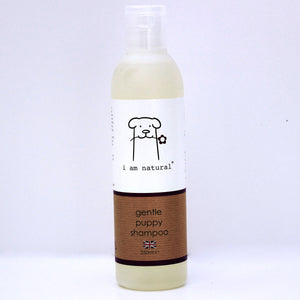 I am natural gentle puppy shampoo for sensitive young dogs bottle