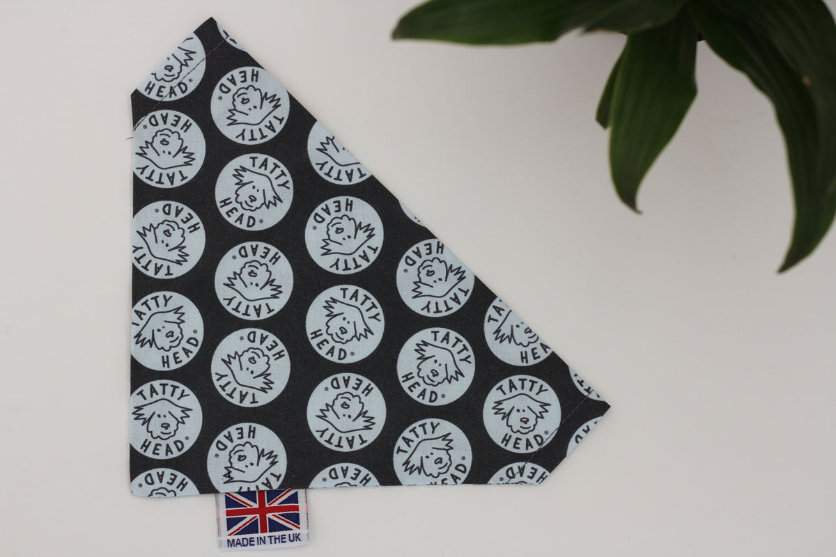 dog neckerchief in blue with tatty head pattern