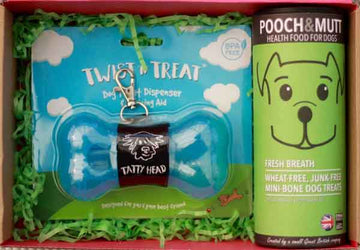 blue dog biscuit container with grain free treats