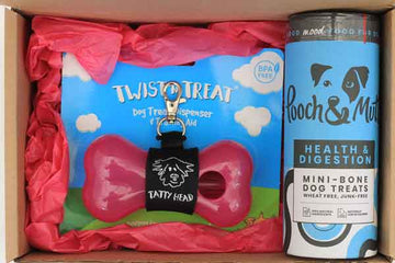 pink gift box for dog owners with treats