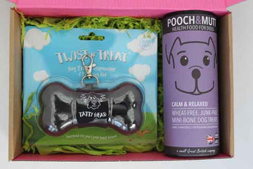 grey dog biscuit container with gluten free biscuits