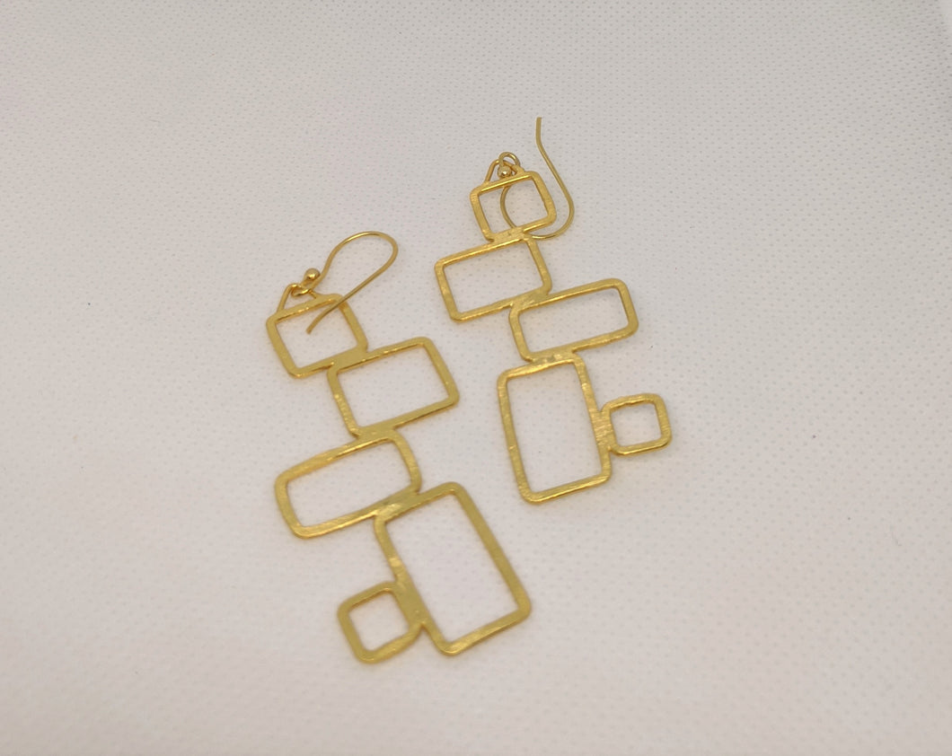 Gold Plated On Brass Geometric Earring - Squares