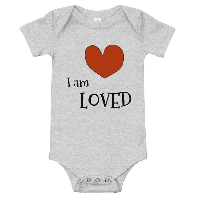 I Am Loved Heart Onesie - Baby's Mark