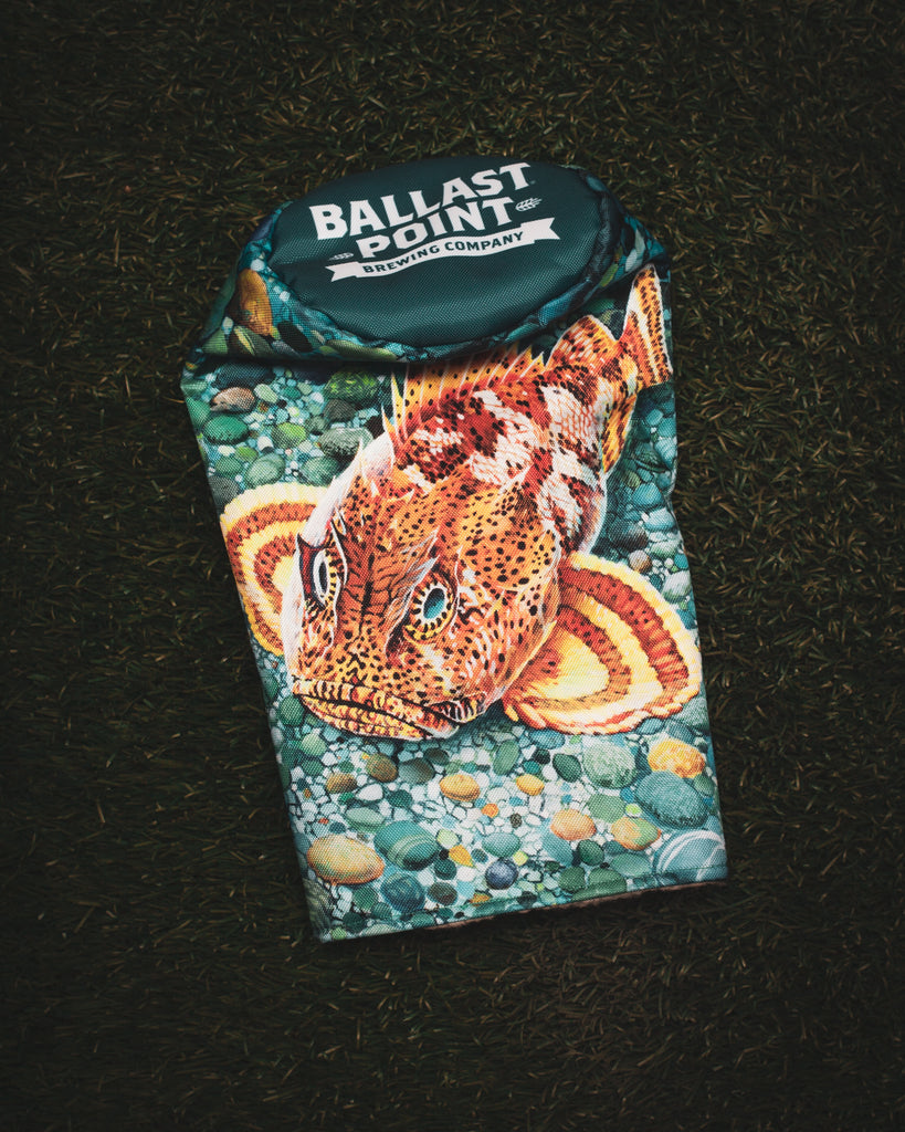 Custom golf headcover for Ballast Point Brewery featuring their Sculpin art with a teal top with their logo. (3690913595471)