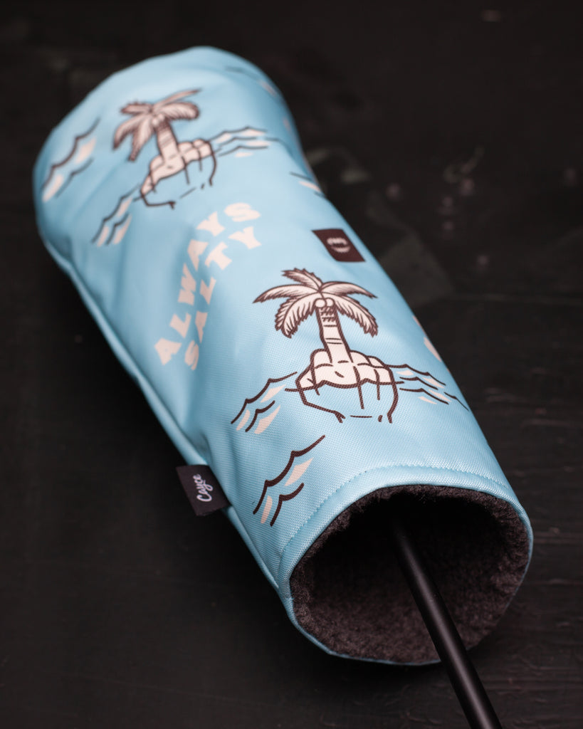 Always Salty golf head cover featuring a tropical design.