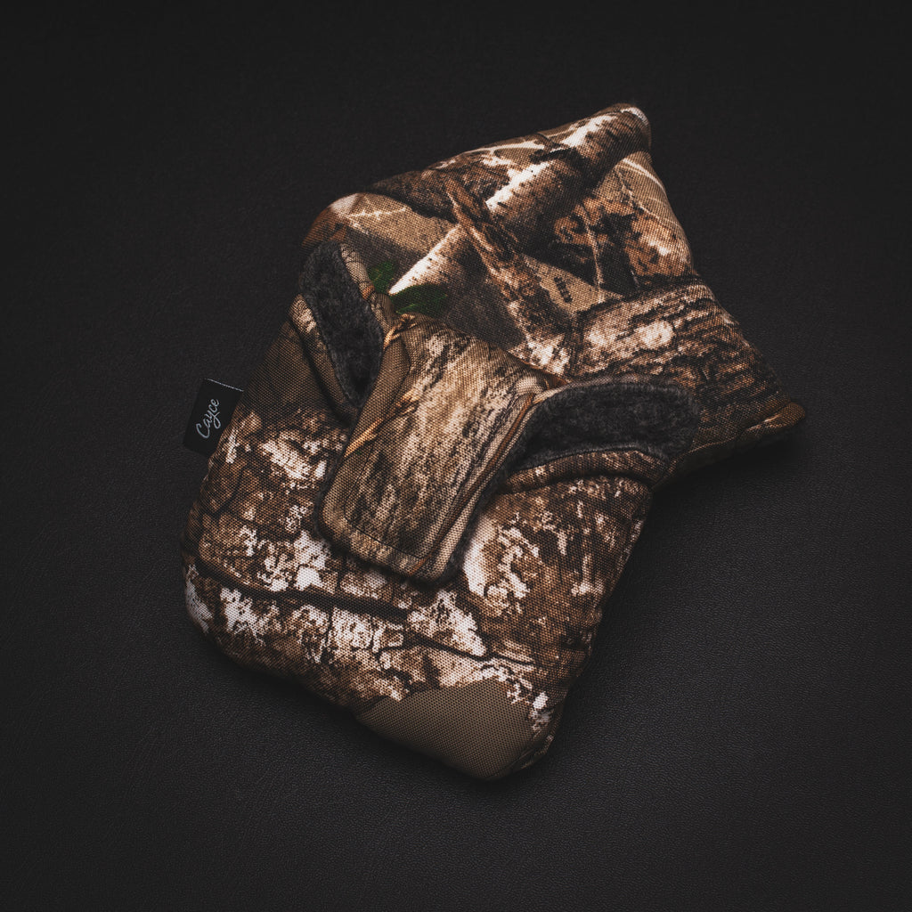 Realtree Camo magnetic mallet putter cover from Cayce Golf
