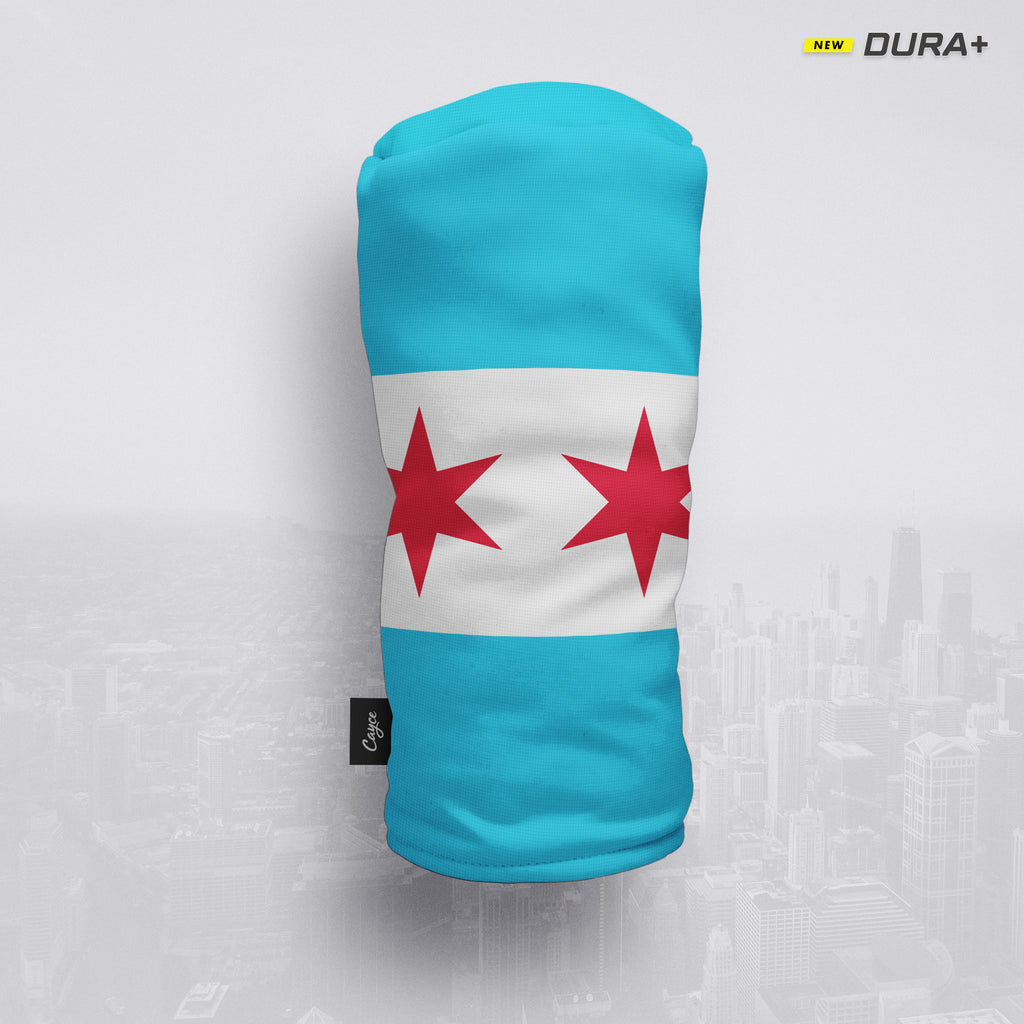 Chicago City Flag Headcover on a city skyline background