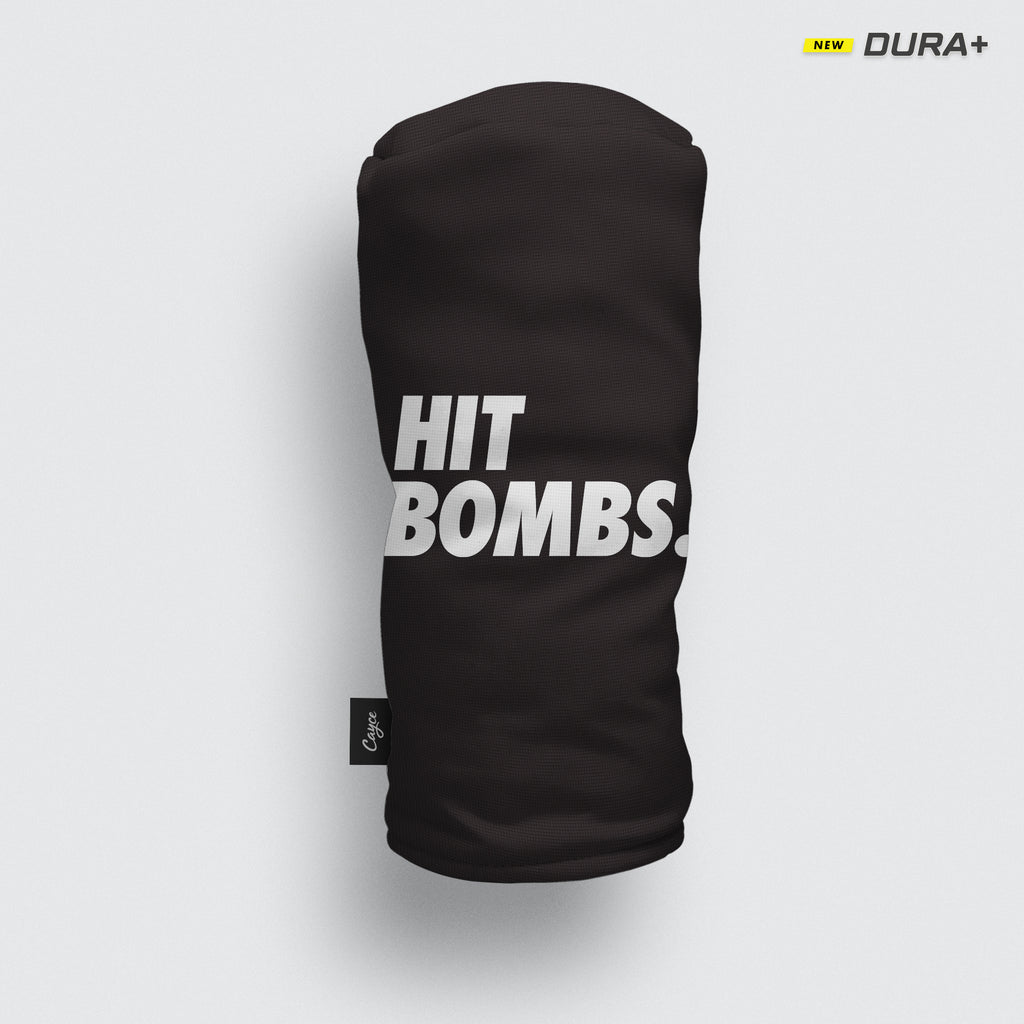 "Hit Bombs Headcover with a black base and iconic Futura ""Hit Bombs."" text."