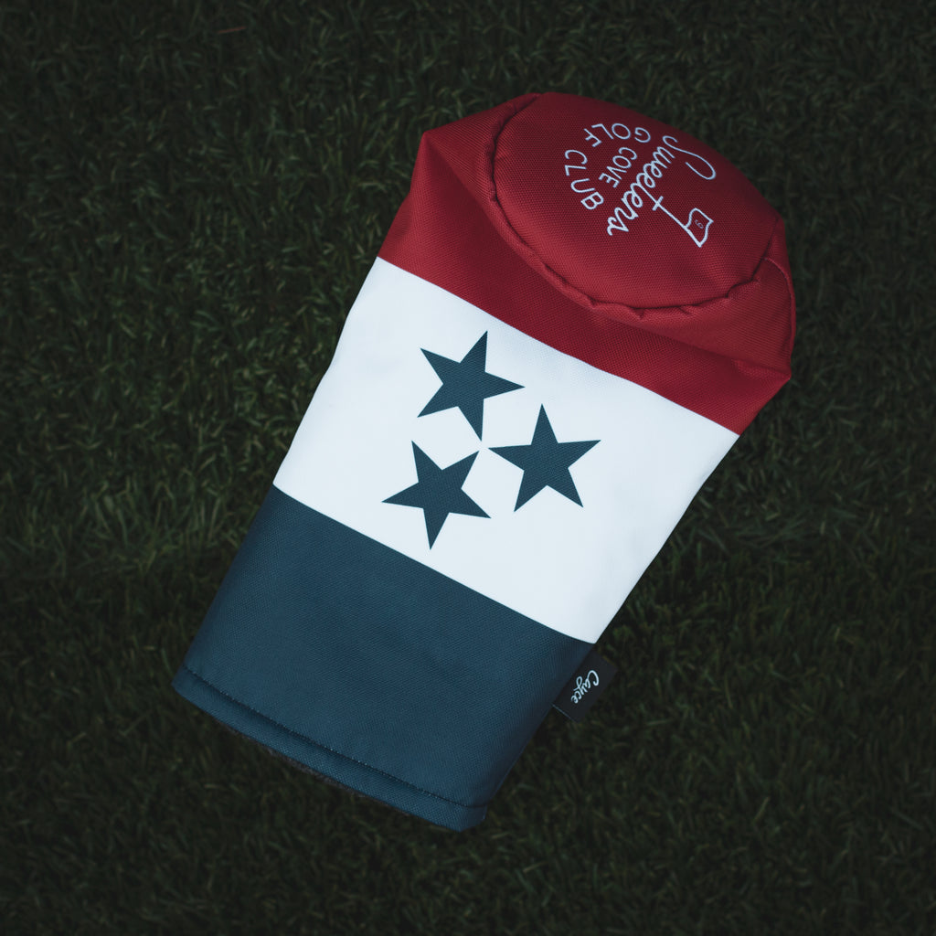 Custom golf headcover for Sweeten's Cove Golf Club in Tennessee featuring a red, white, and blue tri-tone design and the Tennessee Flag tri-star. (3690913595471)