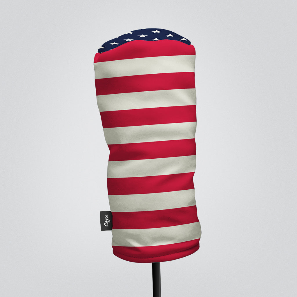 Front View of Driver Headcover and Fairway Wood Headcover with a USA Themed American Flag Design.