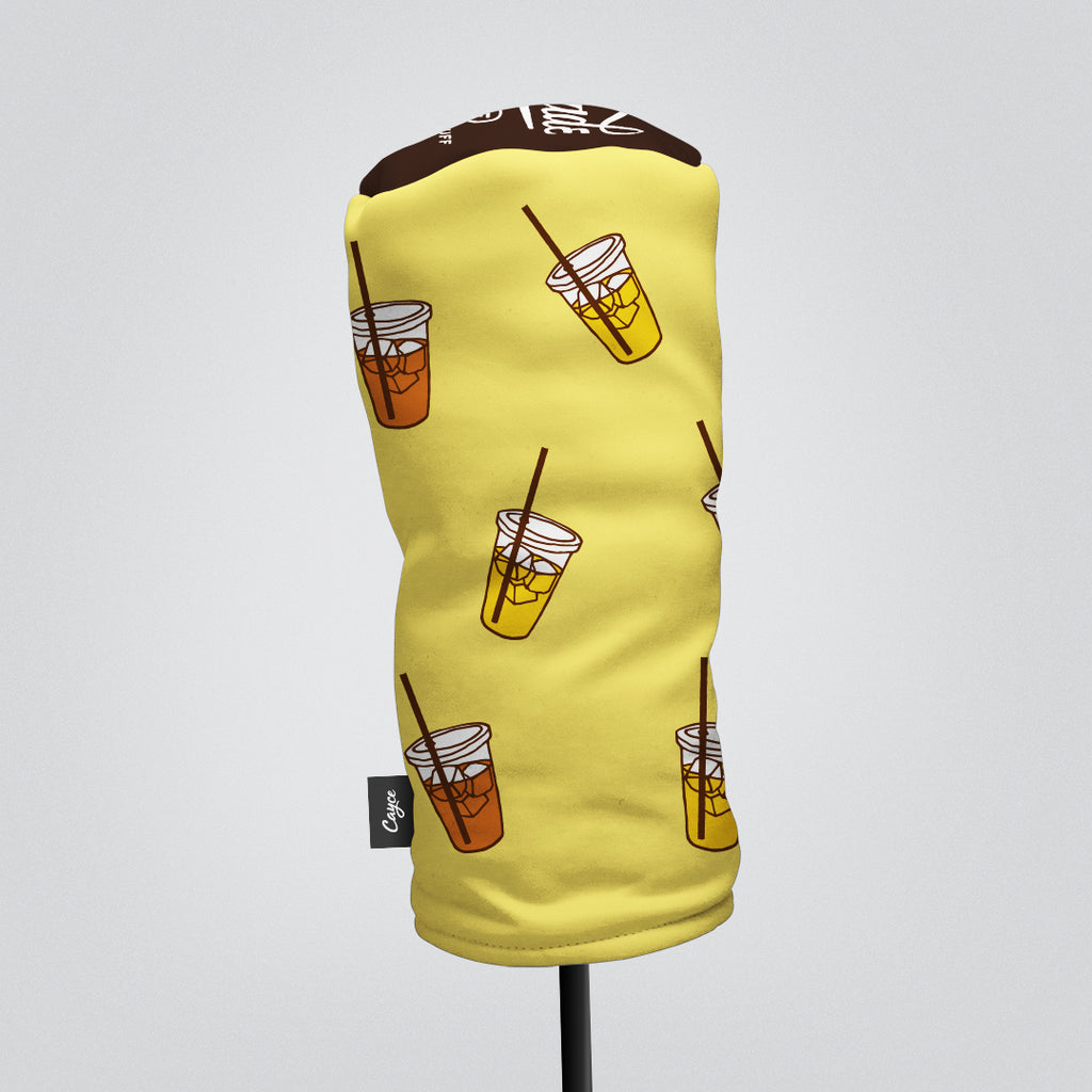 Front View of Driver Headcover and Fairway Wood Headcover with a Dancing Lemonade & Iced Tea pattern (the Arnold Palmer).
