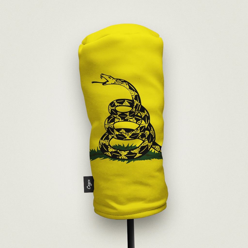 A Gadsden Flag Headcover made by Cayce Golf in the USA
