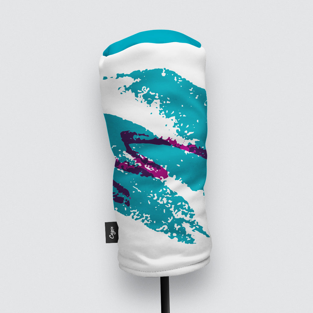 Front View of Driver Headcover and Fairway Wood Headcover with a Vintage 90's Jazz Cup Design Pattern.