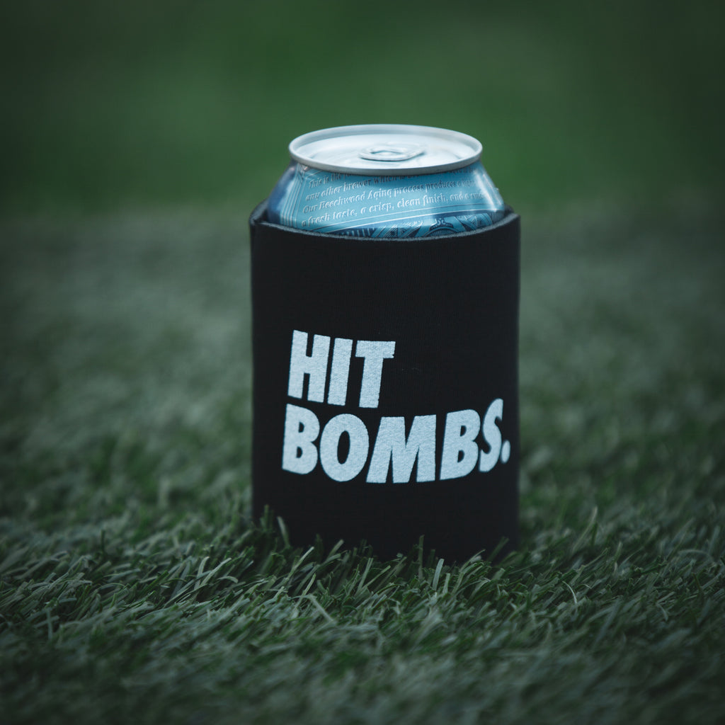 Bud light can with a Hit Bombs Coozie from Cayce Golf in the grass (4688195387471)