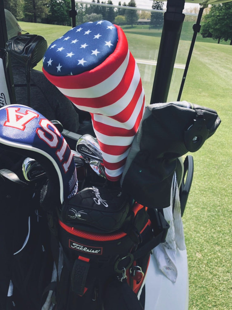 A Cayce Golf customer Image of the American Flag Golf Headcover on the golf course.