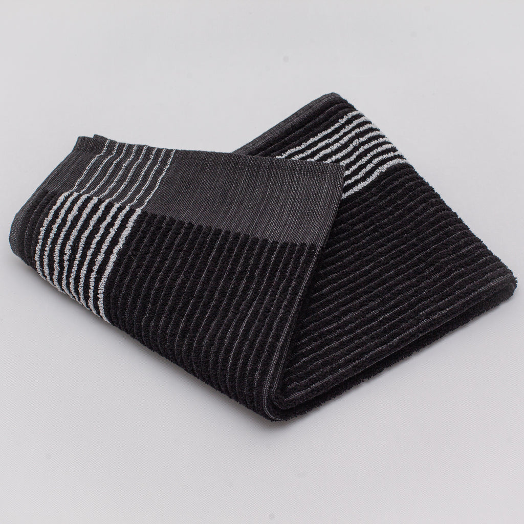 new black caddy towel for golf with white stripes