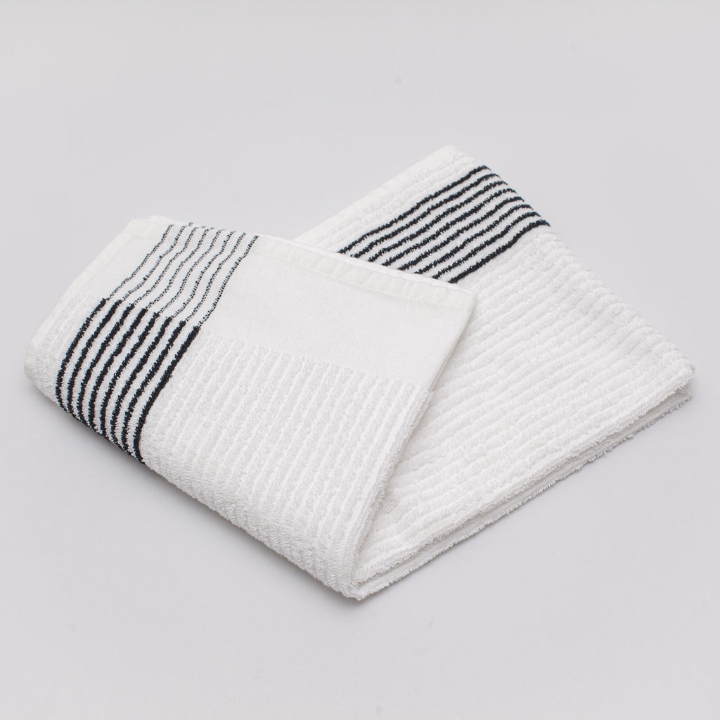durable golf caddy towel with black stripes