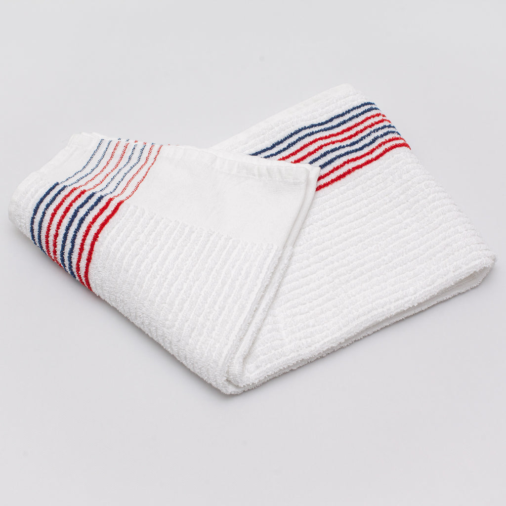 new red and navy caddy towel from cayce golf