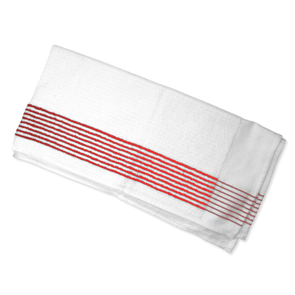 Top View of the Caddy Golf Towel with Red Stripes from Cayce