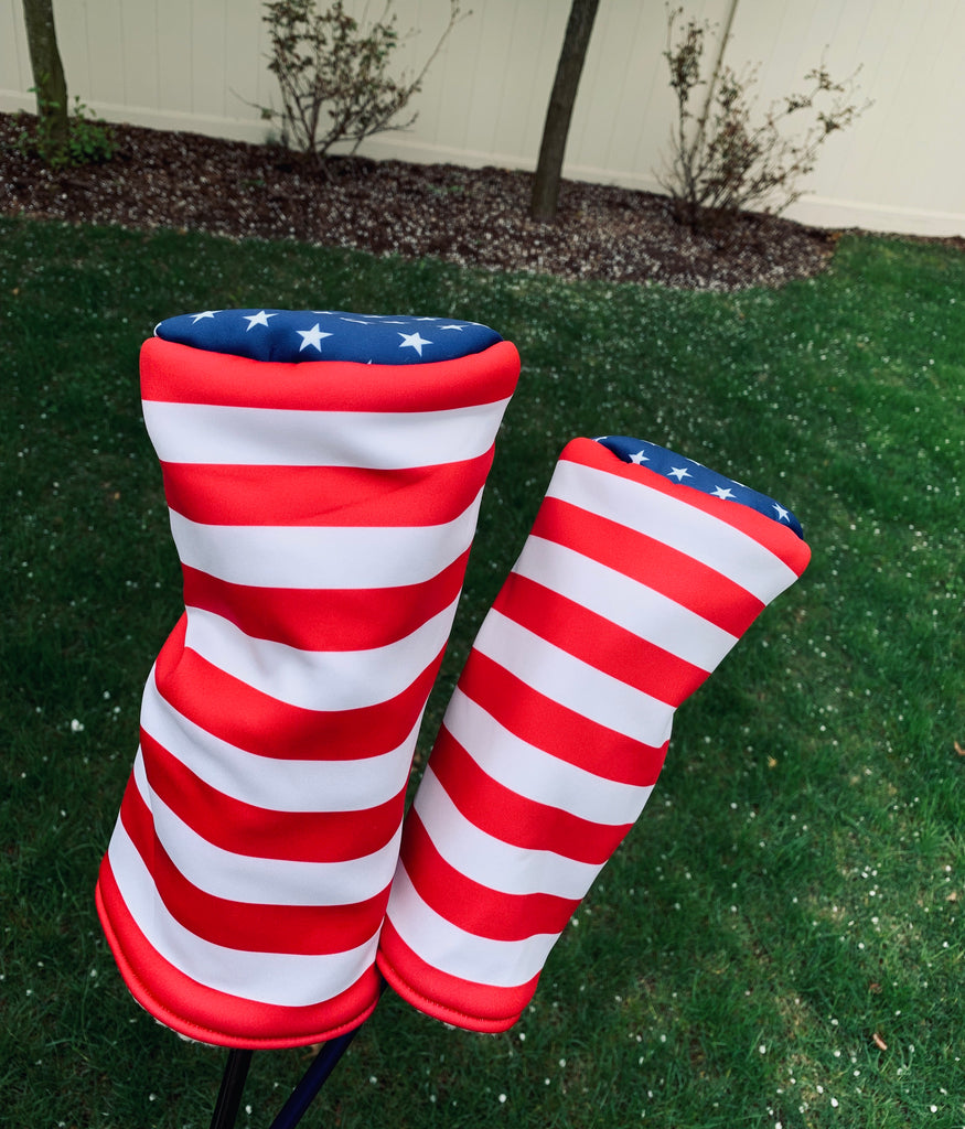 customer photo of both American Flag Headcovers: Driver and Fairway Wood Headcovers featuring a Stars and Stripes USA Design (2430632034383)