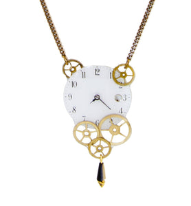 """Jules Verne"" long necklace - White Dial"