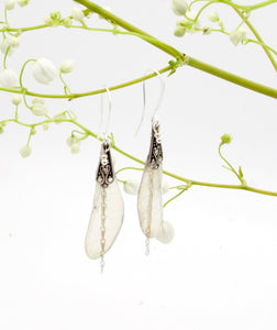 Meandres earrings - transparent silver dragonfly