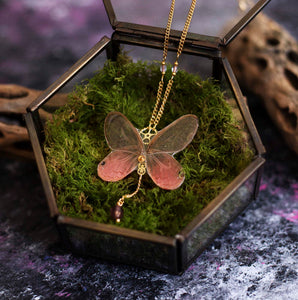 "Collier ""Psyché"" - Papillon Blushing phantom"