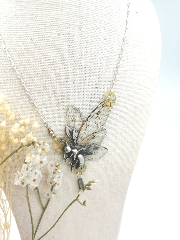 Melie necklace - cicada wings and print.