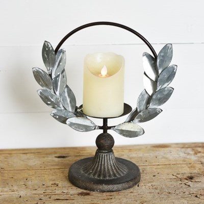 olive wreath tin candle holder