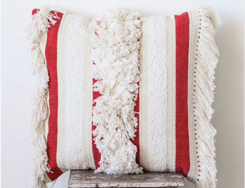striped fringe throw pillow