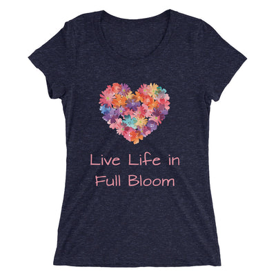 Live Life In Full Bloom Women's Slender Fit T-Shirt in navy
