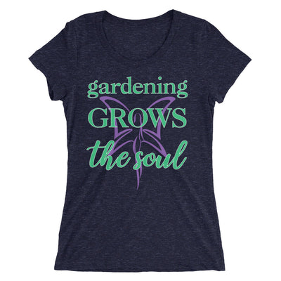 Gardening Grows The Soul Women's T-Shirt in navy