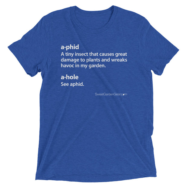 A•phid / A•hole unisex T-Shirt in royal blue, humorous t-shirt for gardeners