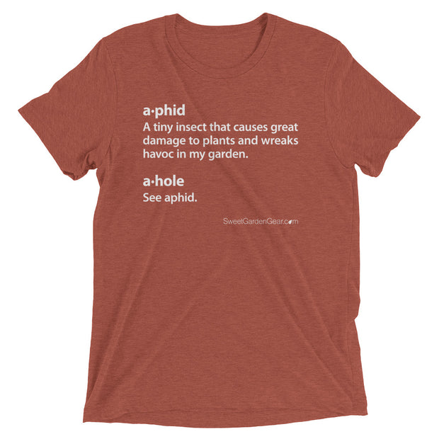 A•phid / A•hole unisex T-Shirt in clay, humorous t-shirt for gardeners