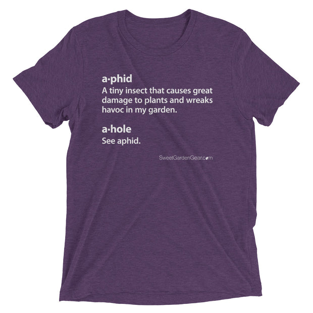 A•phid / A•hole unisex T-Shirt in purple, humorous t-shirt for gardeners