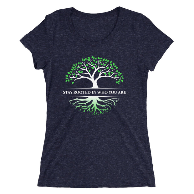 Stay Rooted In Who You Are Women's Slender Fit T-Shirt in navy