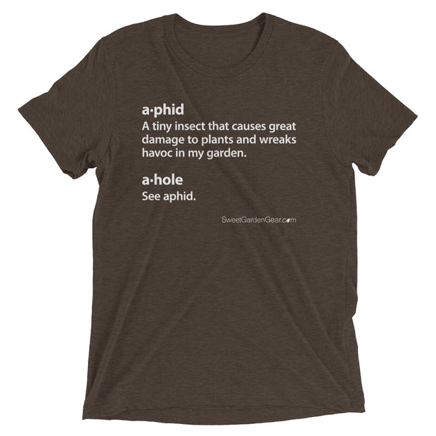 A•phid / A•hole unisex T-Shirt in brown, humorous t-shirt for gardeners