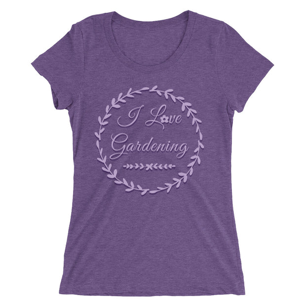 I Love Gardening Women's slender fit T-Shirt in purple