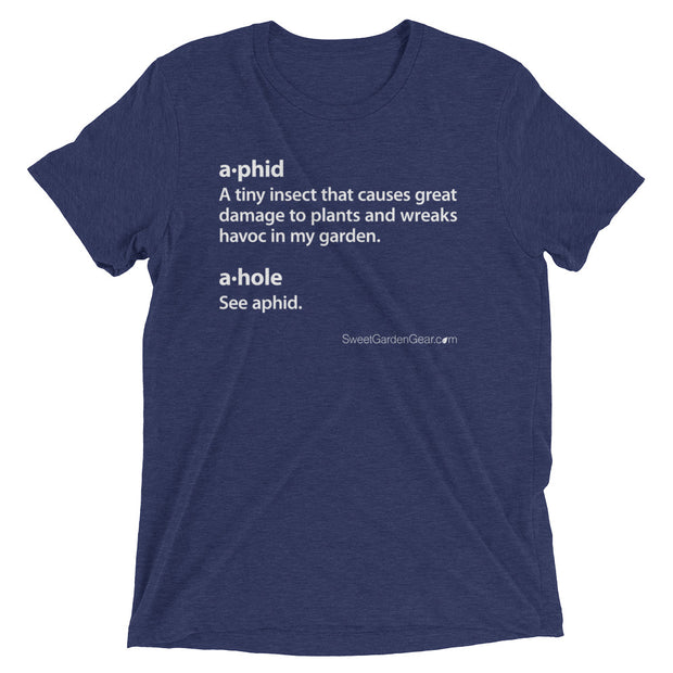 A•phid / A•hole unisex T-Shirt in navy blue, humorous t-shirt for gardeners
