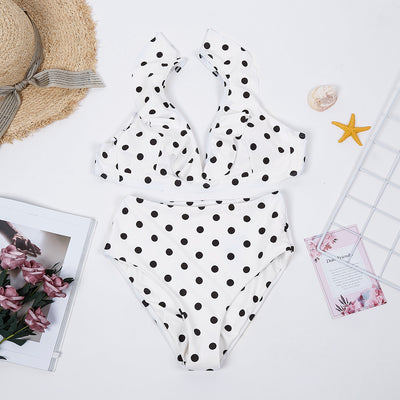 Polka Dots Printed High Waist Swimsuit Set