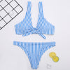 Knot Blue Sea High Waist Bikini Set
