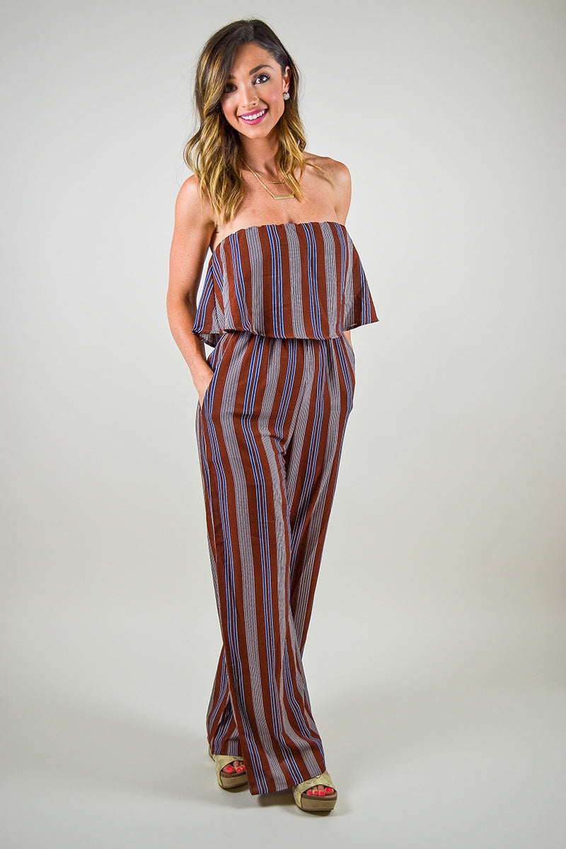 no sale tax sneakers for cheap elegant in style Strapless Striped Jumpsuit - Rust