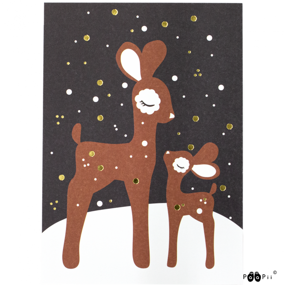 Postcard Bambi's in the snow – Paapii Design